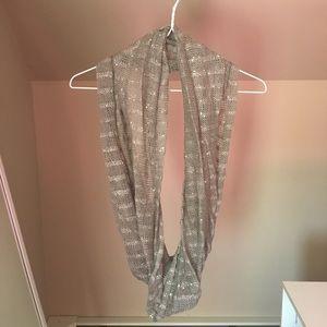 Gray knit infinity scarf